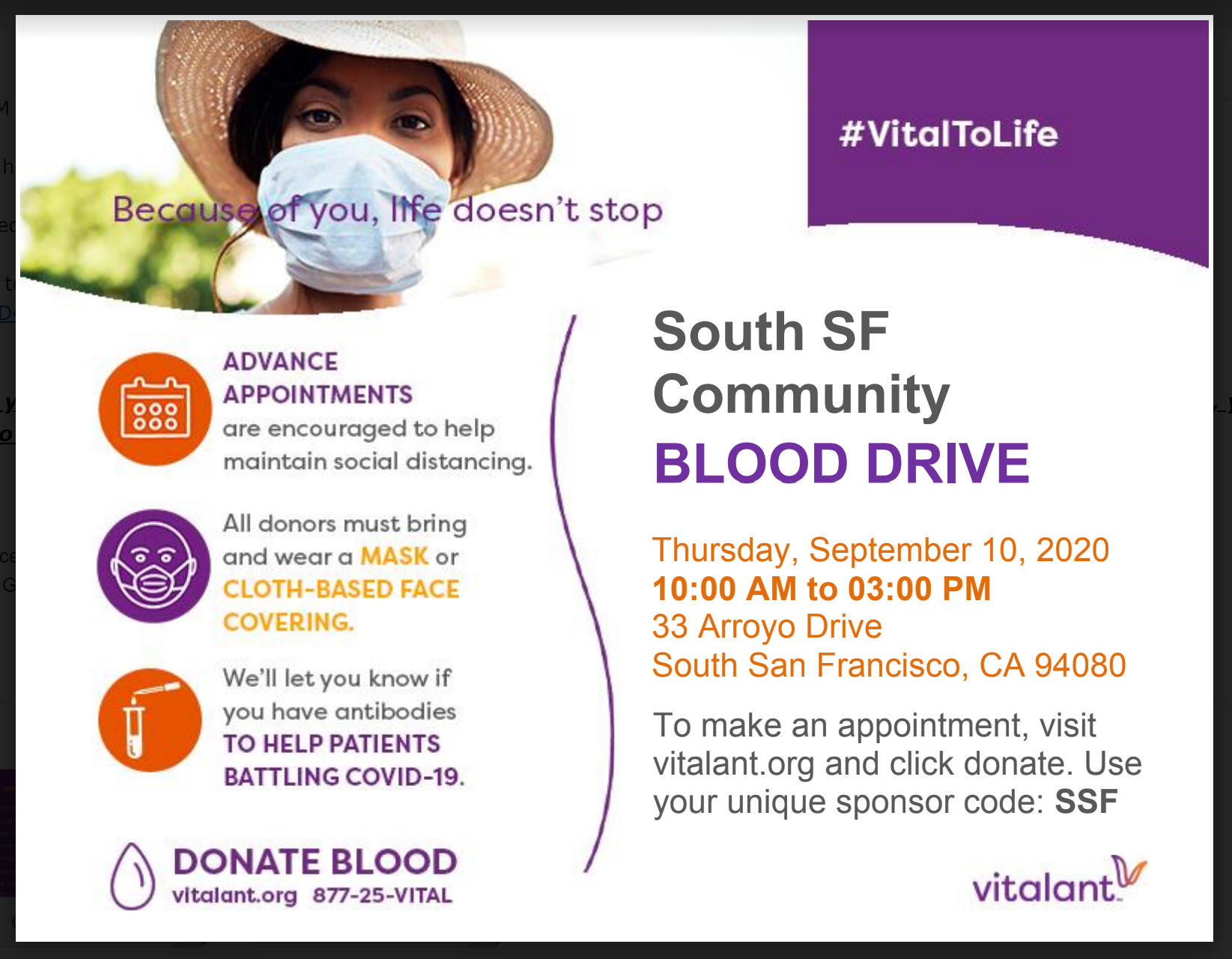 Blood Drive Sept 10, 2020 in South San Francisco